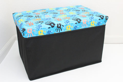 "12-4-5 foldable storage ottoman with lid 20"" W x 12"" D x 12"" H"