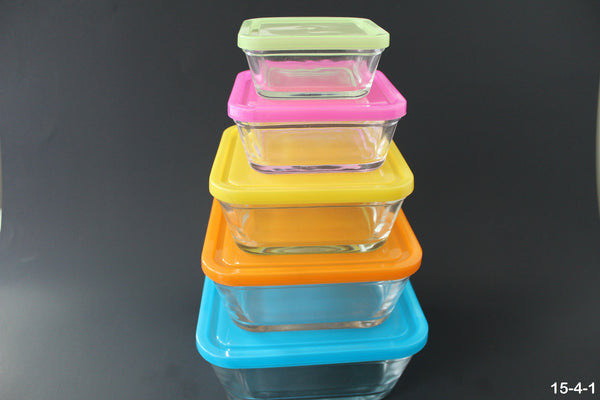 15-4 Oven-safe Glass Food Container 10 piece with lock