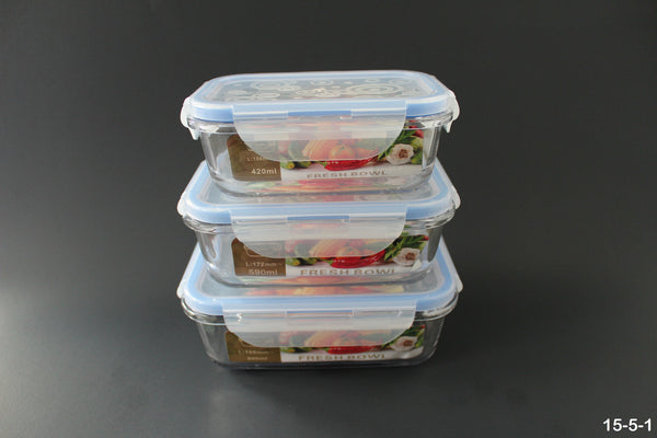 15-5 Oven-safe Glass Food Container 6 pieces