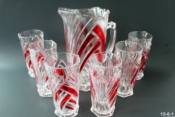 15-6 Glass Beverage Drink Set 7 Pieces
