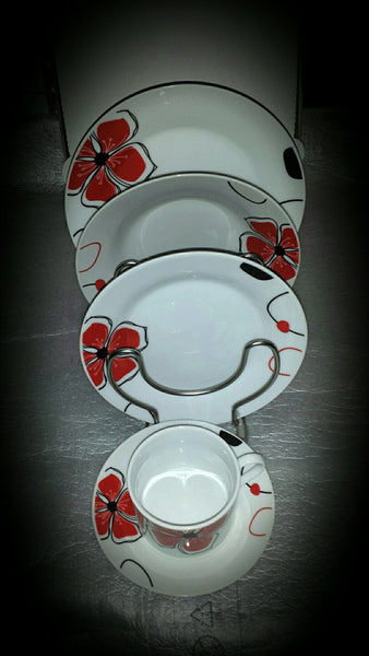 2-4 Porcelain Plate Set Features wisps of red and black shades 30 Pieces, 6 Sets