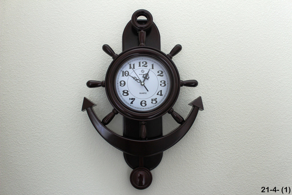 21-4 Urban Designs Nautical Captain's Ship Wheel Porthole With Anchor Elegant Wall Mounted Clock