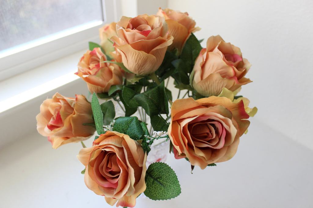 "24-1-3 Artificial flower 1 bouquet 15.5"" (39 cm) Diameter 15""(38 cm) (9 rose + 3 rose branches ,Total 12)"