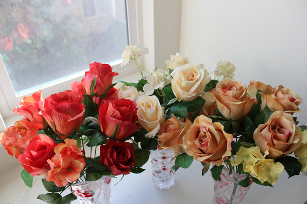 "24-1-2 Artificial flower 1 bouquet 15.5"" (39 cm) Diameter 15""(38 cm) (9 rose + 3 rose branches,Total 12)"