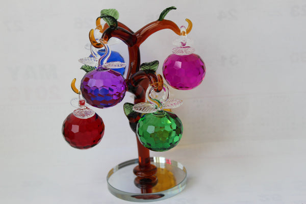 "3-4 Crystal tree  6"" diameter x  7.5"" height   with 6 crystal Apples"