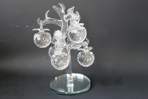 "3-5 Crystal tree 6 "" diameter x  8"" height  with 6 crystal Apples"