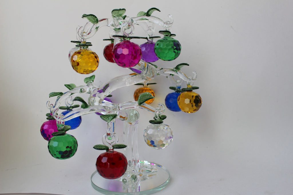 "3-8 Crystal tree 11"" diameter x  11"" height  with 15 crystal Apples"