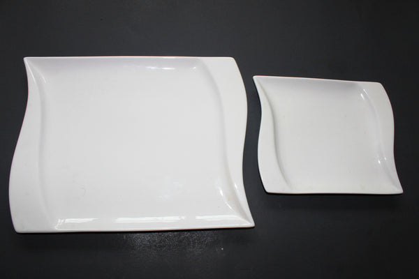 33-2 White Square Porcelain Dinner Plate,12""