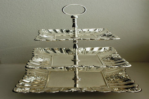 4-2 (3 Tier Silver Plated Buffet Cake Stand)