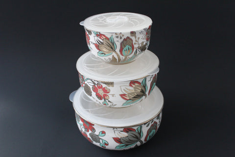 7-04 Porcelain Bowl with Silicone Seal Lid 3 pcs