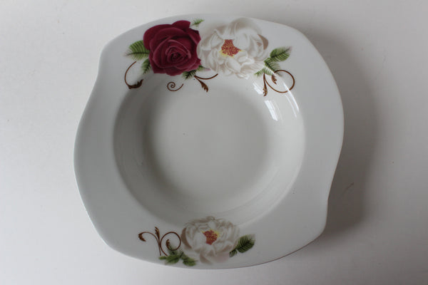 "7-16 porcelain Plate Deep Square wave Design 7.5"" Diameter x 2.5"" H"
