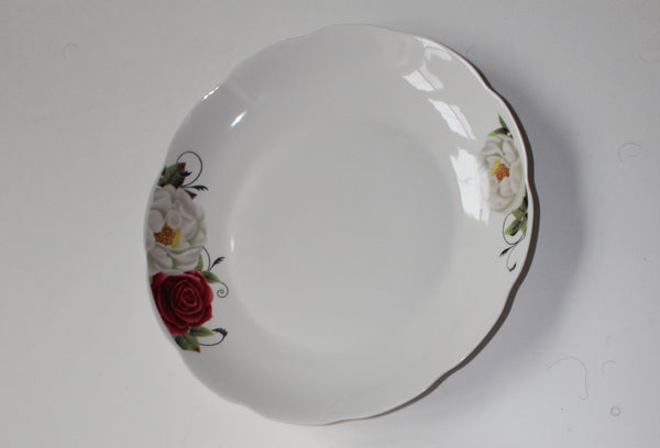 "7-19  Porcelain Plate Soft Rose Design 11.75"" Diameter x 1.25"" H"