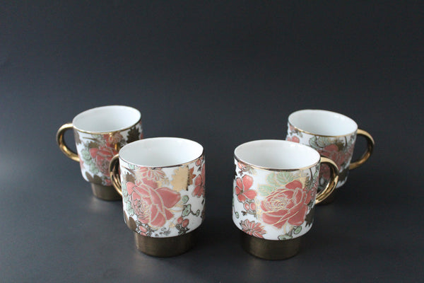 7-2 Porcelain Cup set Classic design Golden plated 4 pieces