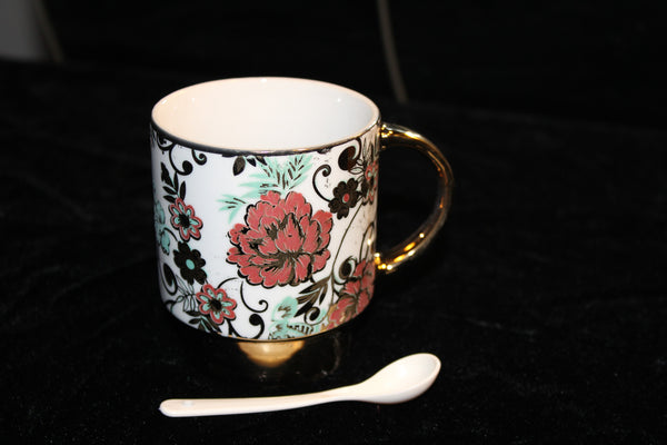 7-28 Porcelain Espresso & Tea Cup With Spoon (Gold plated)
