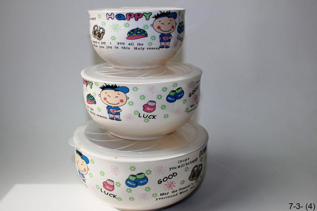 7-3 Porcelain Bowl with Silicone Seal Lid 6 pcs Children design