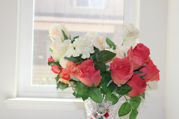 "24-1-1 Artificial flower 1 bouquet 15.5"" (39 cm) Diameter 15""(38 cm) (9 rose + 3 rose branches ,Total 12)"