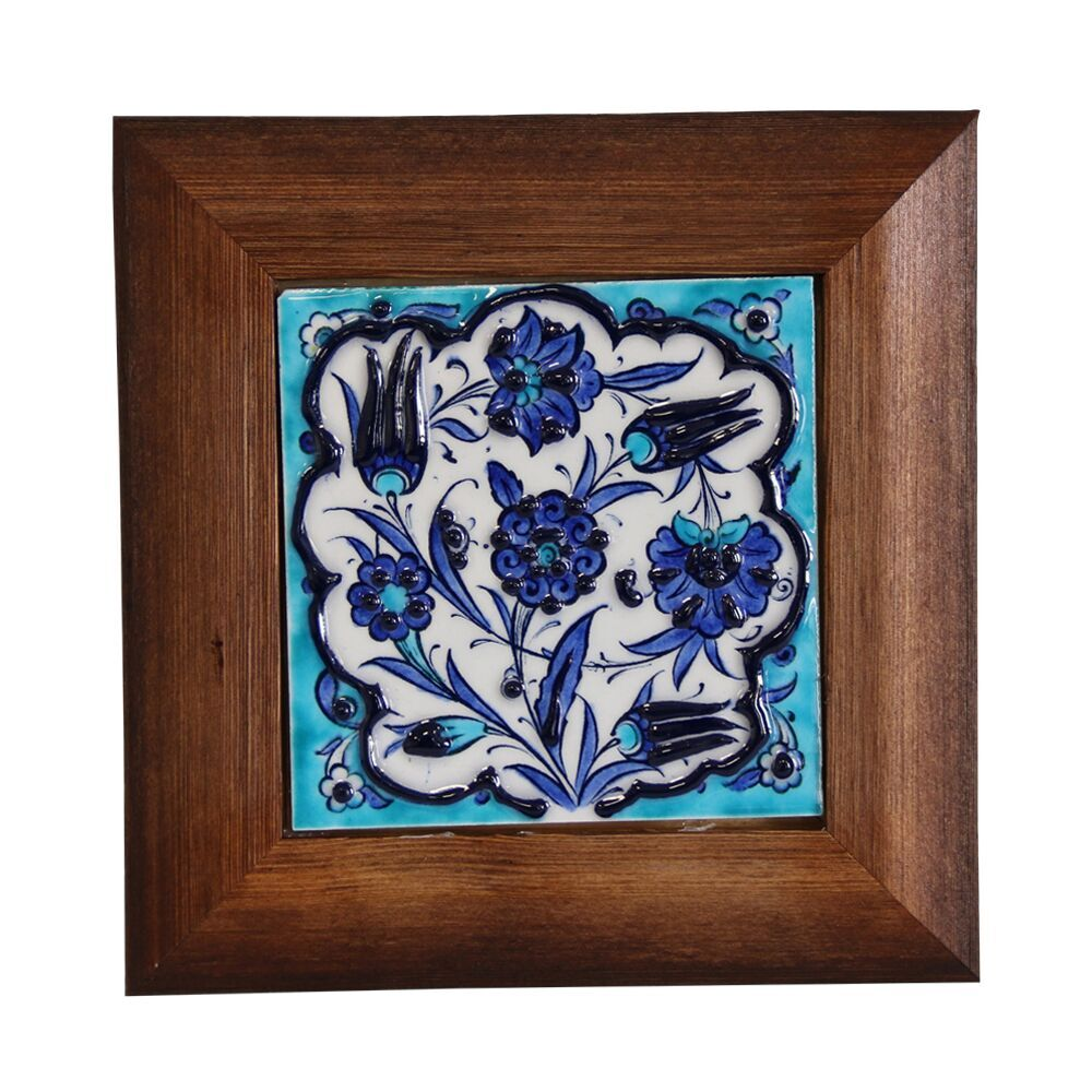 Cini, Iznik Pottery Tile With Wood Frame