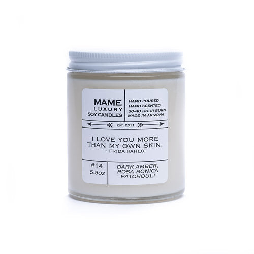Mame Soy Candles | #14 - Dark Amber. Rosa Bonica, Patchouli | 5.5 oz