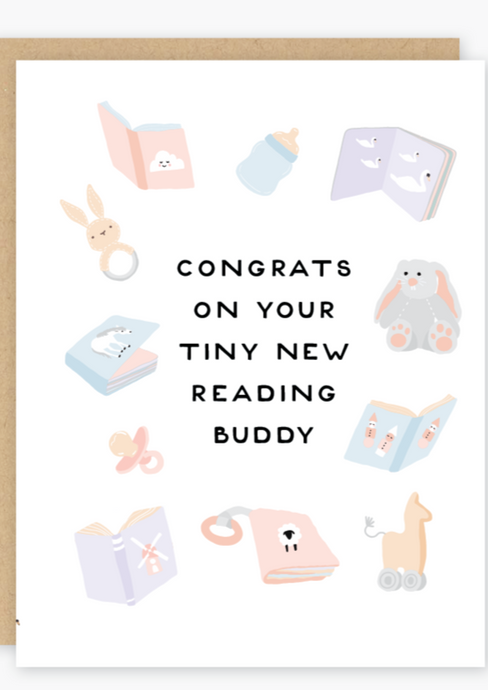 Party of One - Reading Buddy New Baby Card