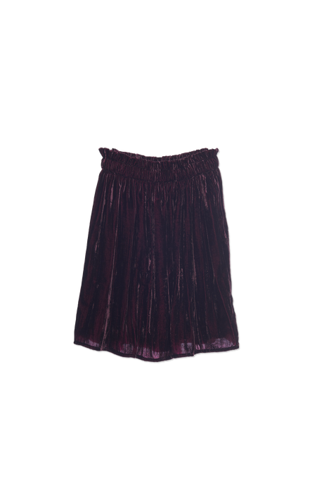 Wander & Wonder | Gathered Skirt | Eggplant Velvet