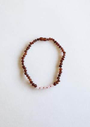 CanyonLeaf - Kids: Raw Cognac Amber + Rose Quartz|| Necklace