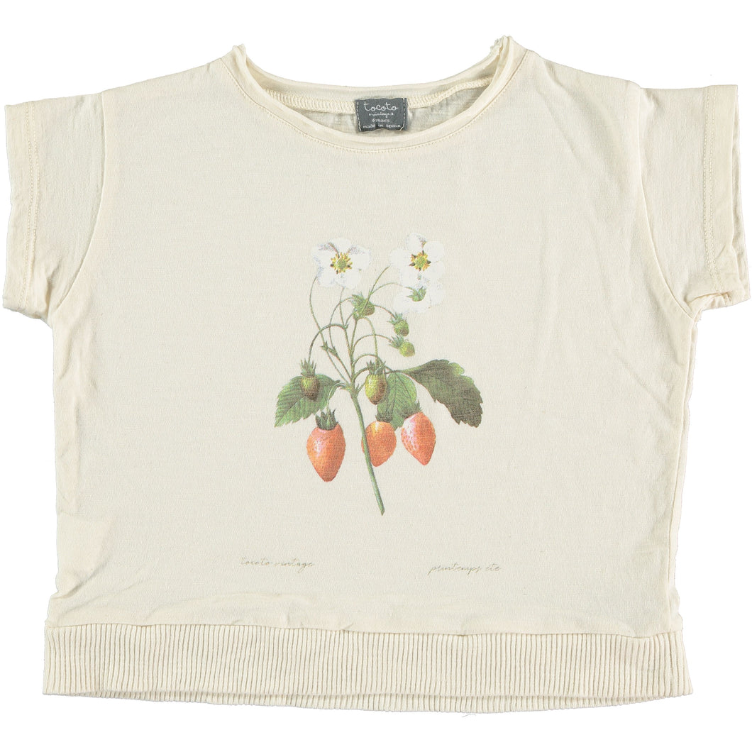 Tocoto Vintage | Strawberry Tee | light yellow