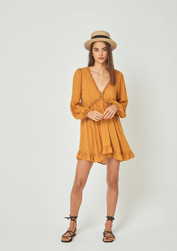 Auguste the Label | Dunes Sleeved Mini Dress | Amber