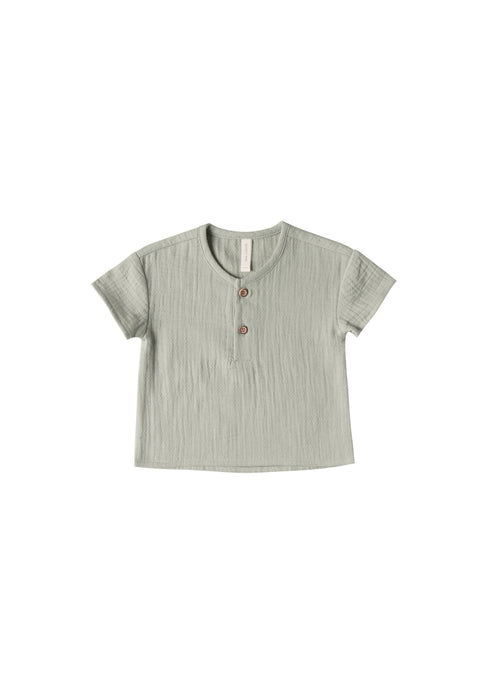 Quincy Mae | Woven Henry Top | Sage