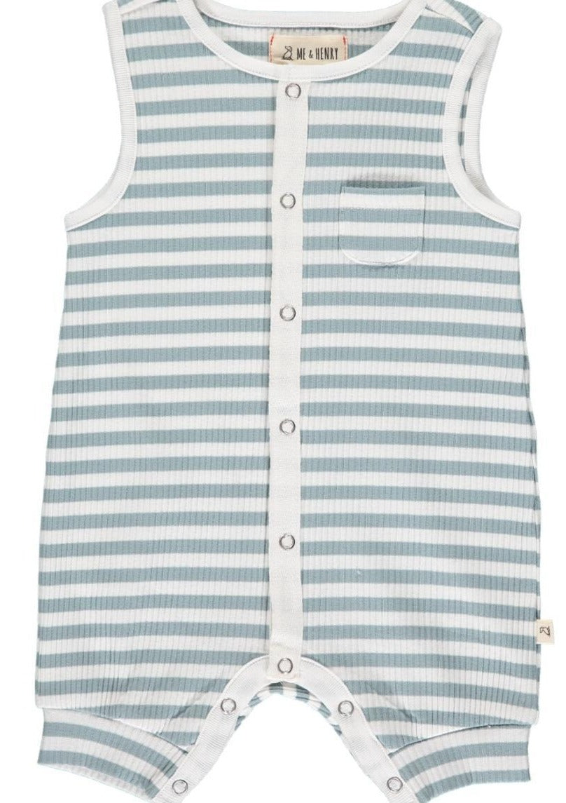 Me & Henry  PABLO ribbed playsuit in Gray stripe