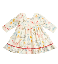 pink chicken baby coralee dress in multi watercolor moths