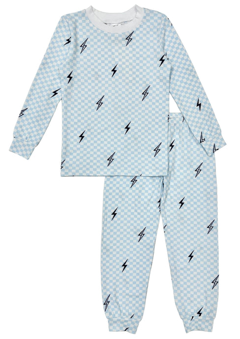 Esme Boys Pajamas in Blue Bolts