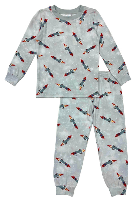 Esme Boys Pajamas in Grey Rockets