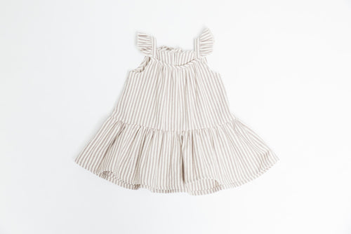 Greige | The Sundress | Taupe/Natural Stripe Canvas