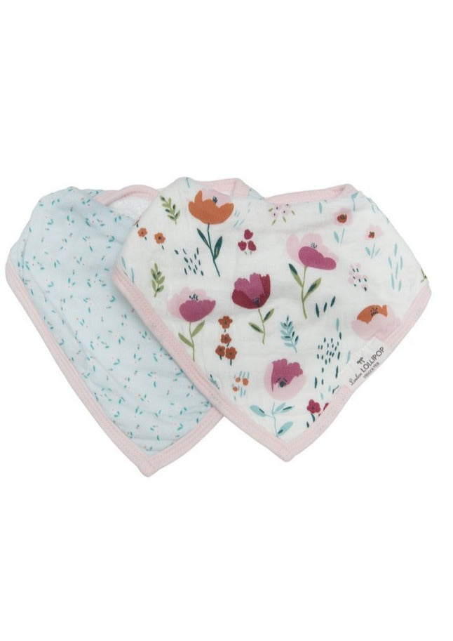 Loulou LOLLIPOP  | Luxe Muslin Bandana Bib Set | Rosey Bloom