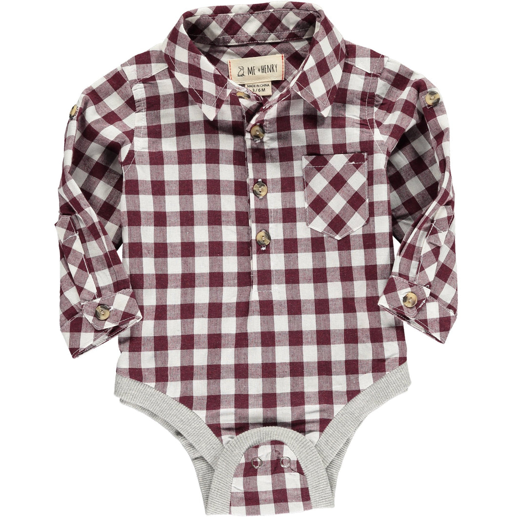 Me & Henry | Wine Check Woven Onesie