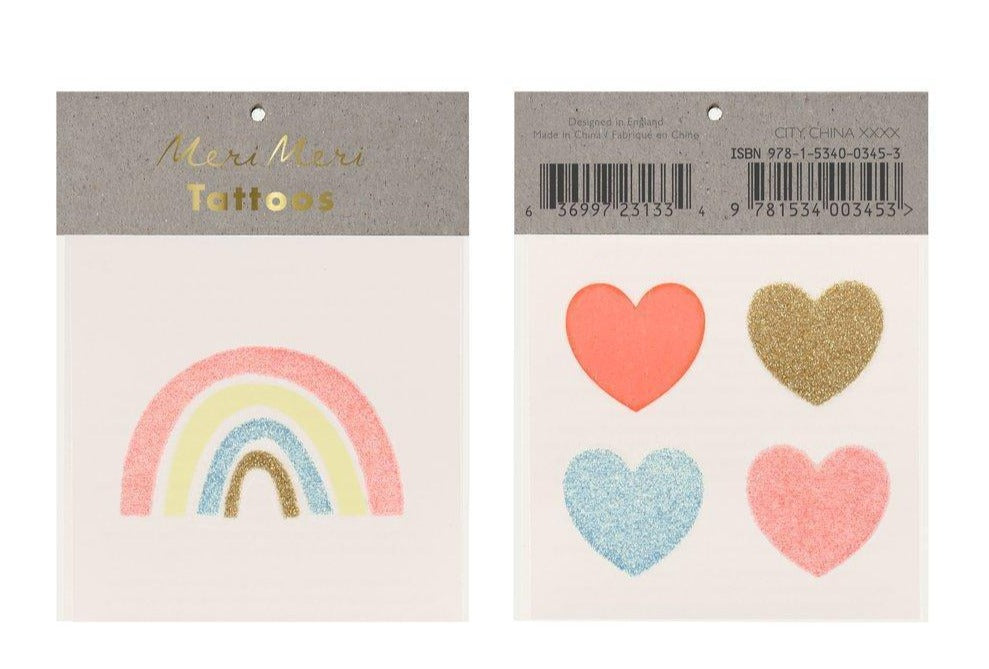 meri meri Rainbow & Hearts Small Tattoos