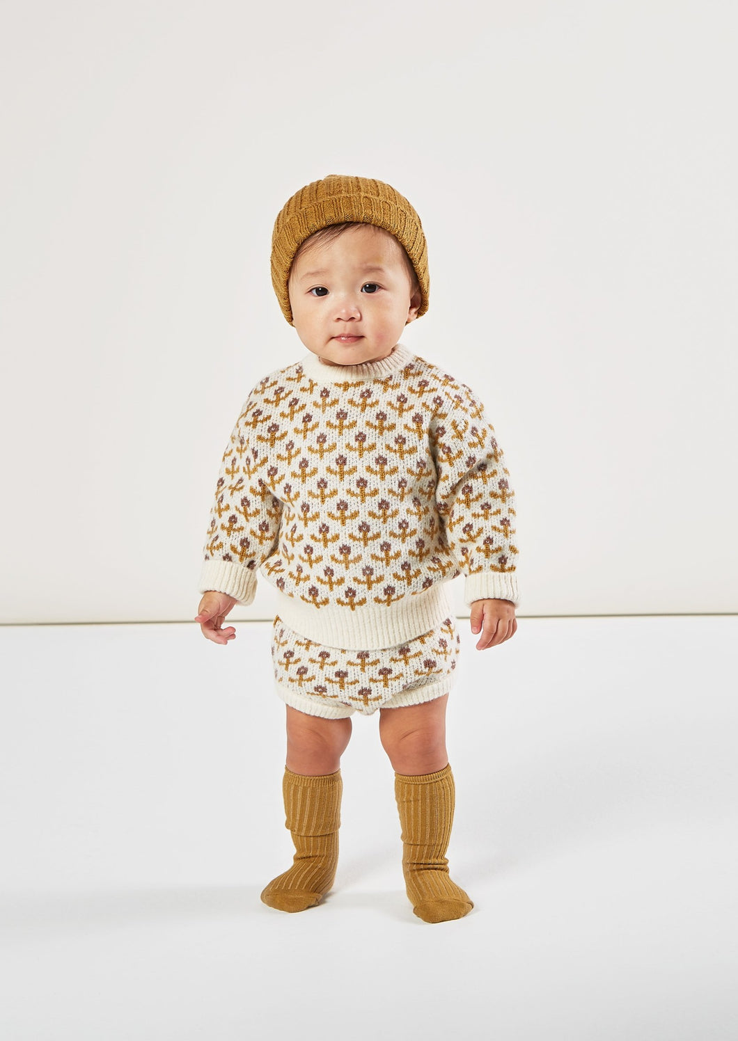 Rylee and Cru | flower stitch knit pullover | ivory