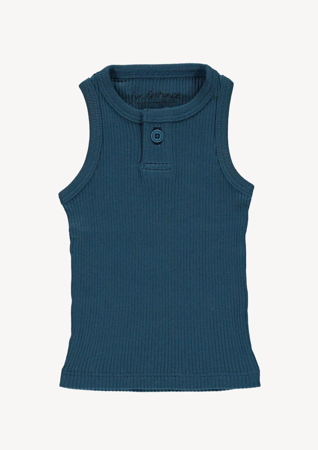 Fin & Vince | Button Tank | Ocean Blue