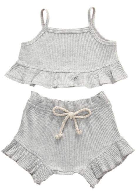 Cricket + Ruby |  picnic ruffle set | grey