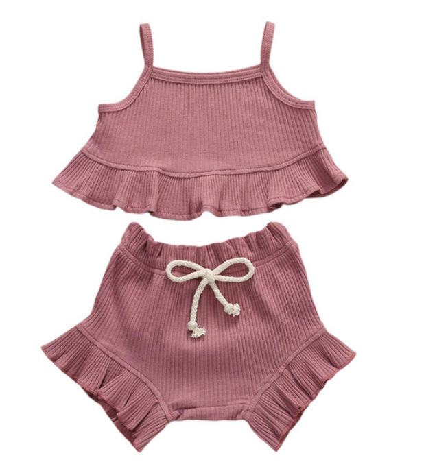 Cricket + Ruby |  picnic ruffle set | plum