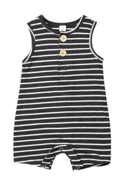 Cricket + Ruby | billy stripe romper  | charcoal