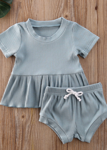 Cricket + Ruby | willow peplum set | powder blue
