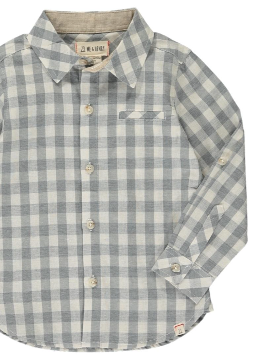 Me & Henry | Men's Woven Tee | Grey Plaid