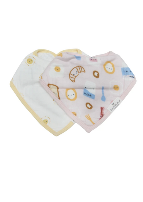 Loulou LOLLIPOP  | Muslin Bandana Bib Set | Breakfast Pink