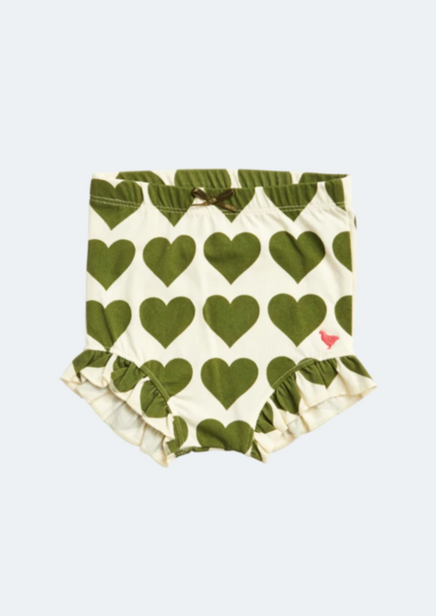 Pink Chicken Organic Bloomers in Olive Hearts