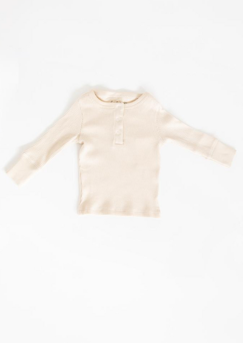 Fin & Vince Layette Ribbed Henley Milk