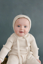 Fin & Vince | footed snap-back romper | Milk
