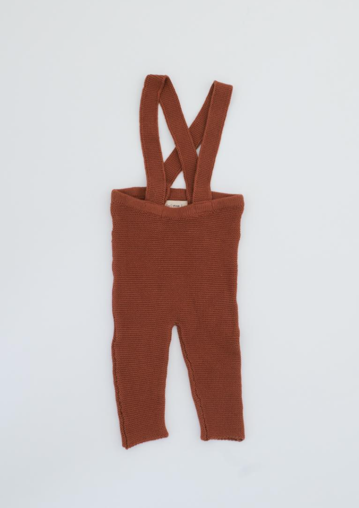 Fin & Vince | knit suspender pant | gingerbread