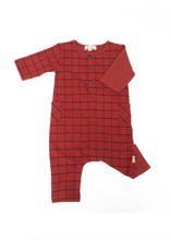 Greige Long Sleeve Romper in Red Maple Mix