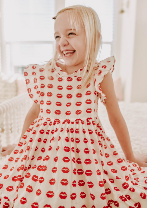 Pink Chicken Jennifer Dress in Red Tango Kisses
